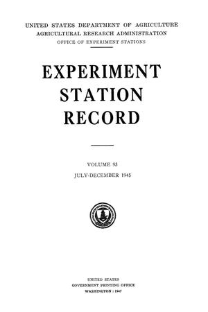 Experiment Station Record, Volume 93, July-December, 1945