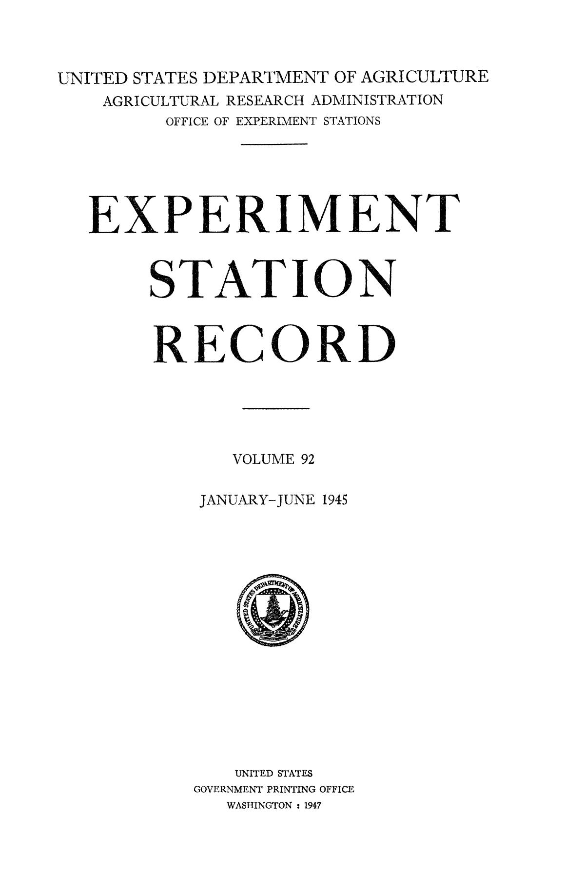 Experiment Station Record, Volume 92, January-June, 1945                                                                                                      Title Page