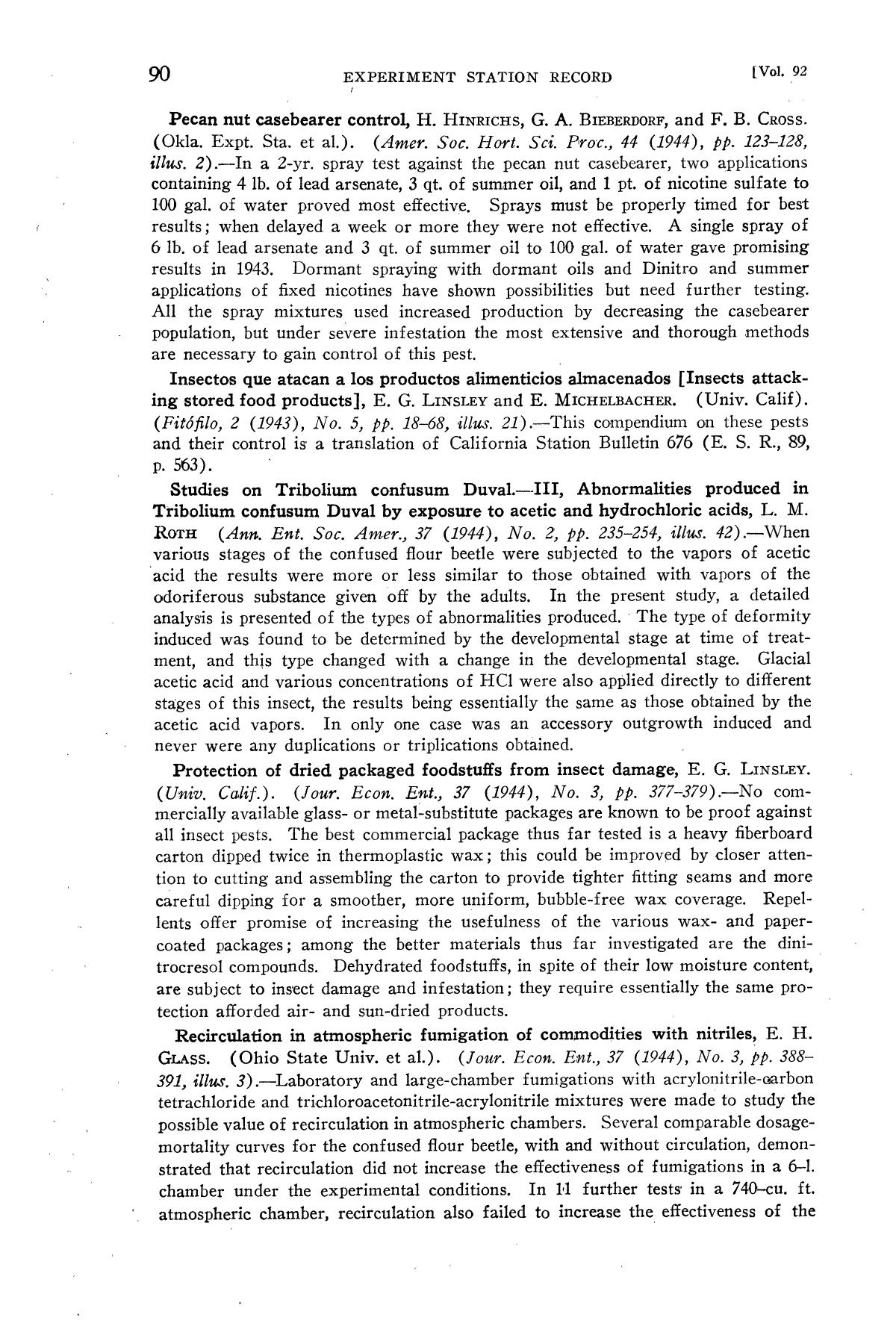 Experiment Station Record, Volume 92, January-June, 1945                                                                                                      90