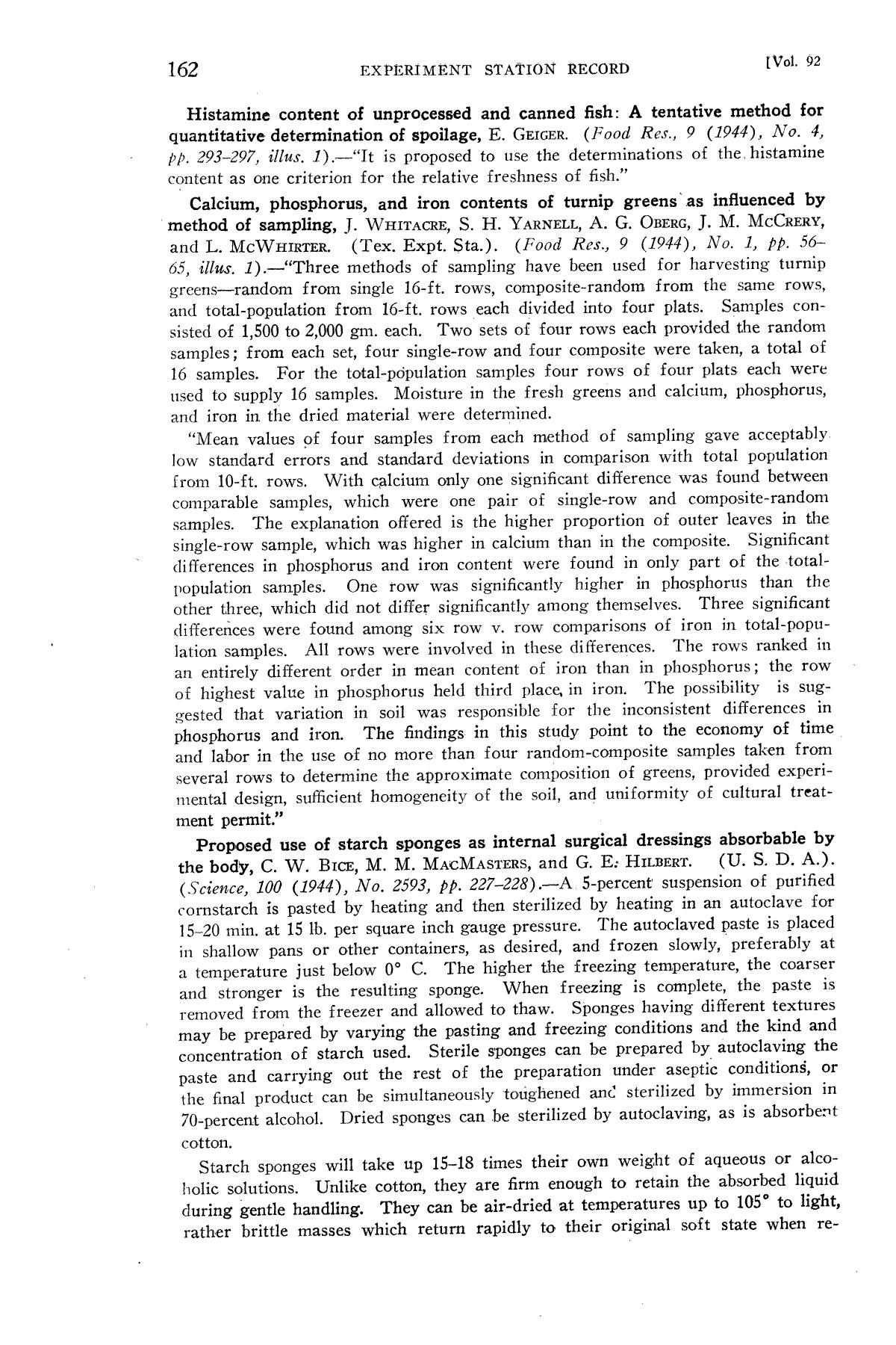 Experiment Station Record, Volume 92, January-June, 1945                                                                                                      162