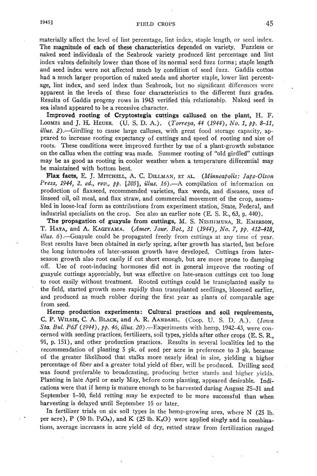 Experiment Station Record, Volume 92, January-June, 1945                                                                                                      45
