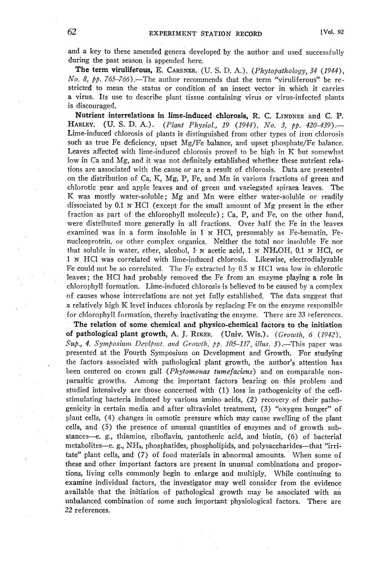 Experiment Station Record, Volume 92, January-June, 1945                                                                                                      62