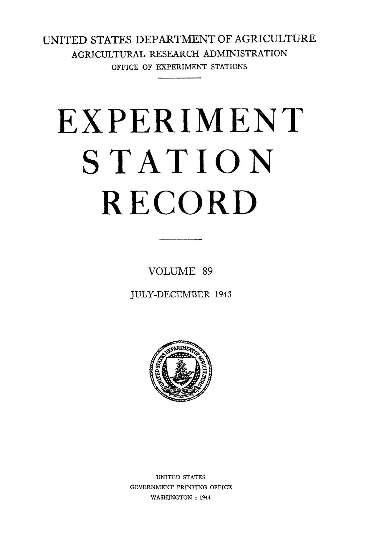 Experiment Station Record, Volume 89, July-December, 1943                                                                                                      Title Page