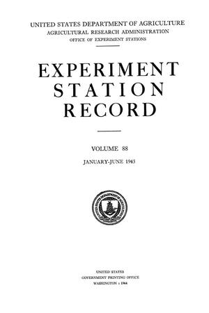 Primary view of object titled 'Experiment Station Record, Volume 88, January-June, 1943'.