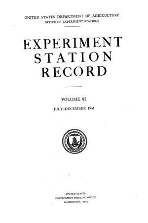 Primary view of object titled 'Experiment Station Record, Volume 85, July-December, 1941'.