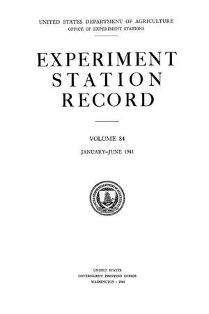 Primary view of object titled 'Experiment Station Record, Volume 84, January-June, 1941'.