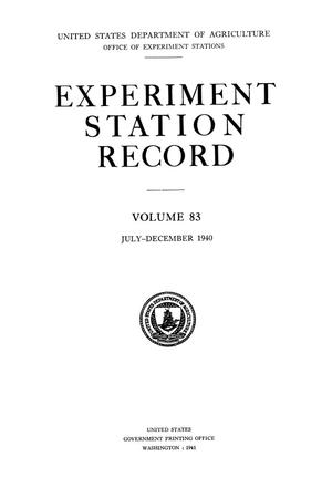 Primary view of object titled 'Experiment Station Record, Volume 83, July-December, 1940'.