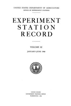 Primary view of object titled 'Experiment Station Record, Volume 82, January-June, 1940'.
