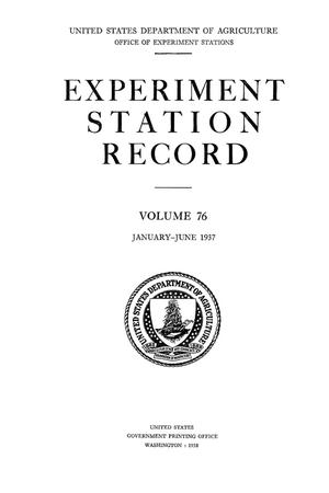 Primary view of object titled 'Experiment Station Record, Volume 76, January-June, 1937'.
