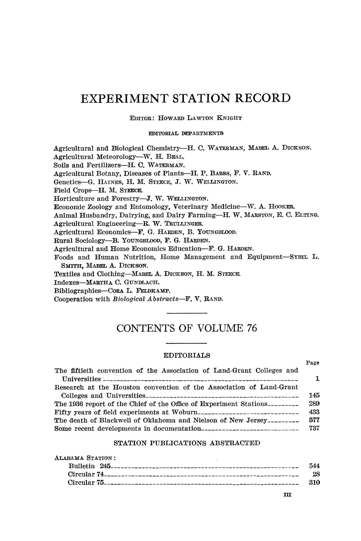 Experiment Station Record, Volume 76, January-June, 1937                                                                                                      III