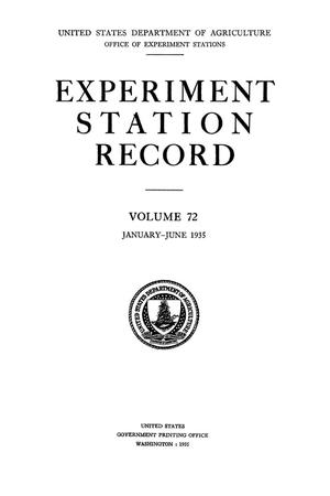 Primary view of object titled 'Experiment Station Record, Volume 72, January-June, 1935'.