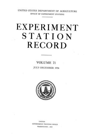 Primary view of object titled 'Experiment Station Record, Volume 71, July-December, 1934'.