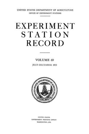 Primary view of object titled 'Experiment Station Record, Volume 69, July-December, 1933'.