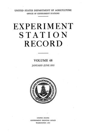 Primary view of object titled 'Experiment Station Record, Volume 68, January-June, 1933'.