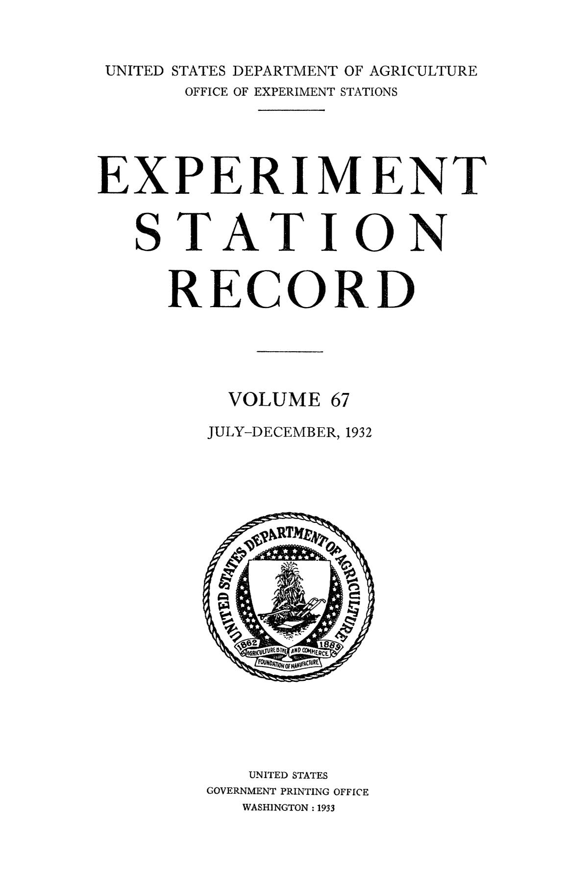 Experiment Station Record, Volume 67, July-December, 1932                                                                                                      Title Page
