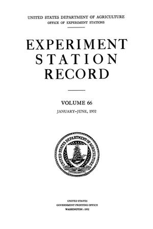 Experiment Station Record, Volume 66, January-June, 1932