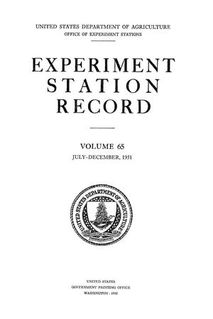 Experiment Station Record, Volume 65, July-December, 1931
