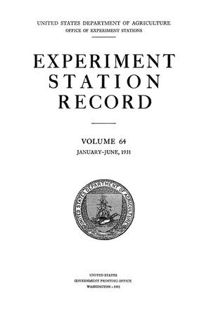 Experiment Station Record, Volume 64, January-June, 1931