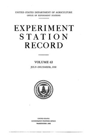 Primary view of object titled 'Experiment Station Record, Volume 63, July-December, 1930'.