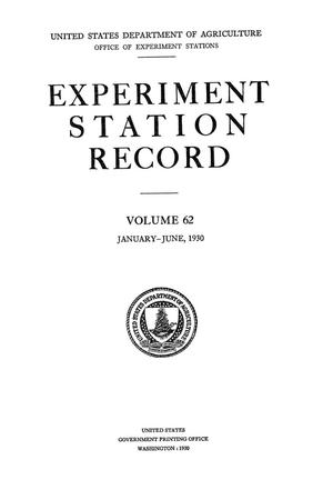 Experiment Station Record, Volume 62, January-June, 1930