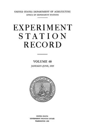 Experiment Station Record, Volume 60, January-June, 1929
