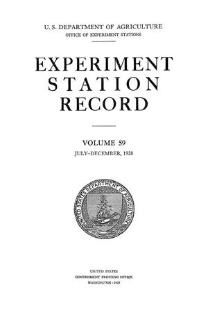 Primary view of object titled 'Experiment Station Record, Volume 59, July-December, 1928'.