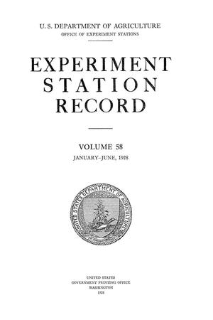 Primary view of object titled 'Experiment Station Record, Volume 58, January-June, 1928'.