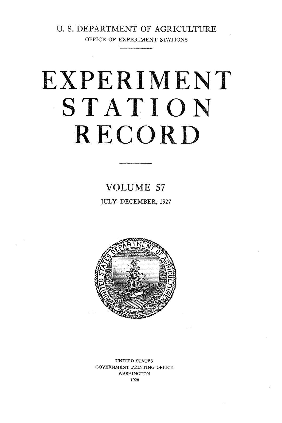 Experiment Station Record, Volume 57, July-December, 1927                                                                                                      Title Page