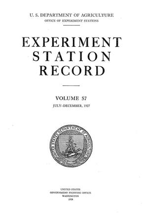 Primary view of object titled 'Experiment Station Record, Volume 57, July-December, 1927'.