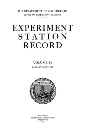 Primary view of object titled 'Experiment Station Record, Volume 56, January-June, 1927'.