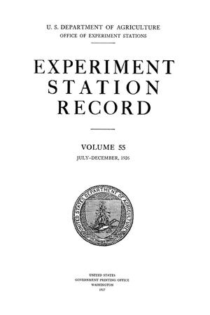 Primary view of object titled 'Experiment Station Record, Volume 55, July-December, 1926'.