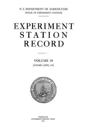Experiment Station Record, Volume 54, January-June, 1926