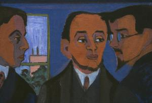 Primary view of object titled 'Artists of 'Die Brücke:' Heckel, Kirchner, Schmidt-Rottluff (left to right) and Otto Müller'.