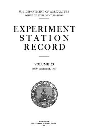 Experiment Station Record, Volume 53, July-December, 1925