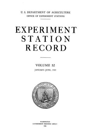 Primary view of object titled 'Experiment Station Record, Volume 52, January-June, 1925'.