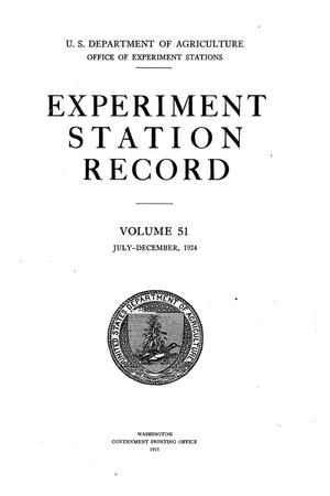 Primary view of object titled 'Experiment Station Record, Volume 51, July-December, 1924'.