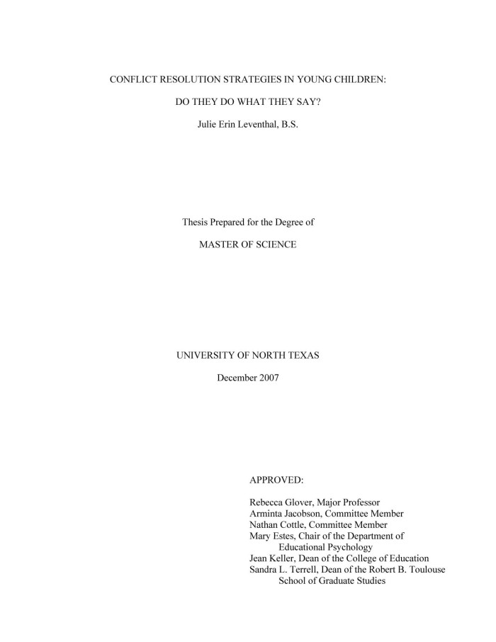 thesis on conflict resolution strategies Strategies of conflict resolution could possibly be integrated into the national   the interdependency of these institutions, following nonetheless spittler's thesis.