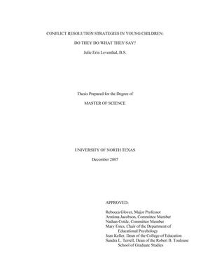 thesis conflict resolution strategies This free business essay on essay: workplace conflict resolution is perfect for conflict resolution: 8 strategies to manage research paper vs thesis.