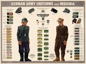 Primary view of object titled 'German army uniforms and insignia.'.
