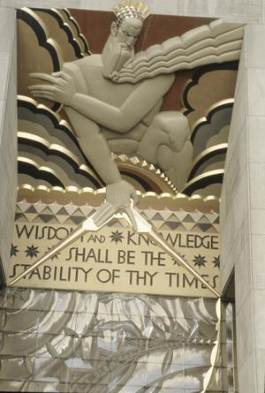 Primary view of object titled 'Rockefeller Center, RCA Building, Wall Relief, Wisdom'.