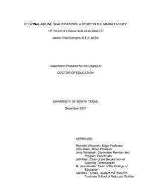 Primary view of object titled 'Regional airline qualifications: A study in the marketability of higher education graduates.'.