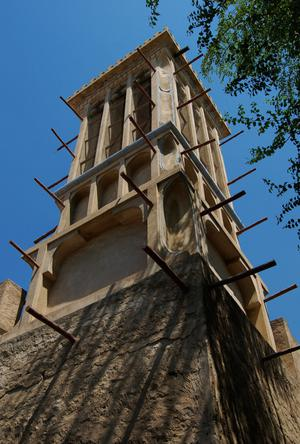 Primary view of object titled 'Windtower in Historic Bastakiya Neighborhood'.