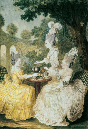 La Marquise de Montesson, La Marquise de Crest and la Comtesse de Damas Drinking Tea