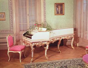 Primary view of object titled 'Harpsichord Used by Mozart in Prague'.
