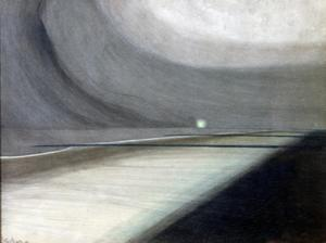 Primary view of object titled 'Beach in Moonlight, Seascape with Light'.