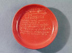 Primary view of object titled '[Plate with Text]'.