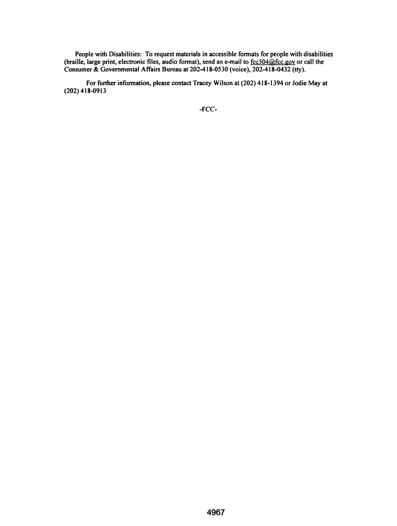 FCC Record, Volume 26, No. 7, Pages 4843 to 5761, March 28 - April 08, 2011                                                                                                      4967