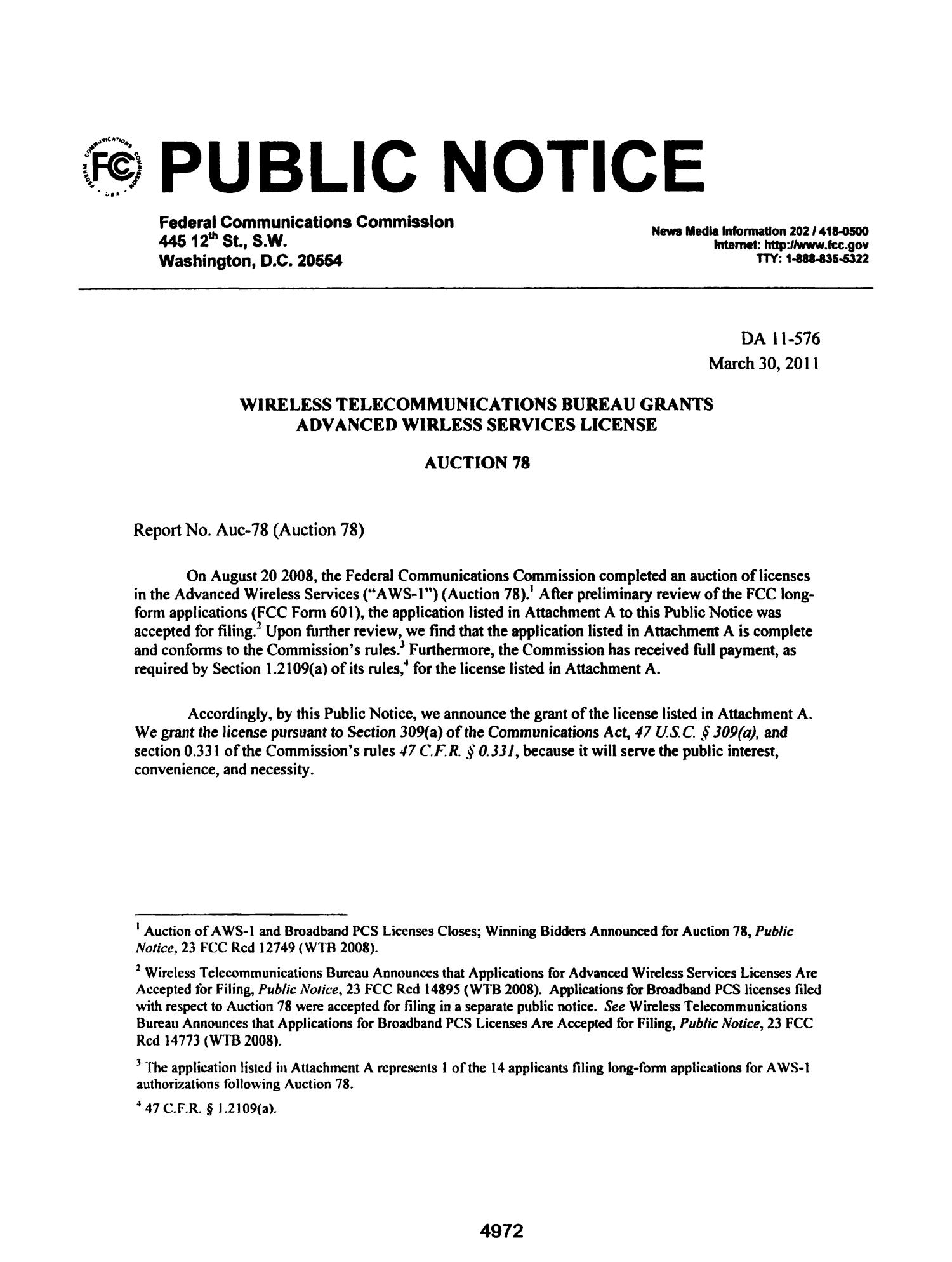 FCC Record, Volume 26, No. 7, Pages 4843 to 5761, March 28 - April 08, 2011                                                                                                      4972