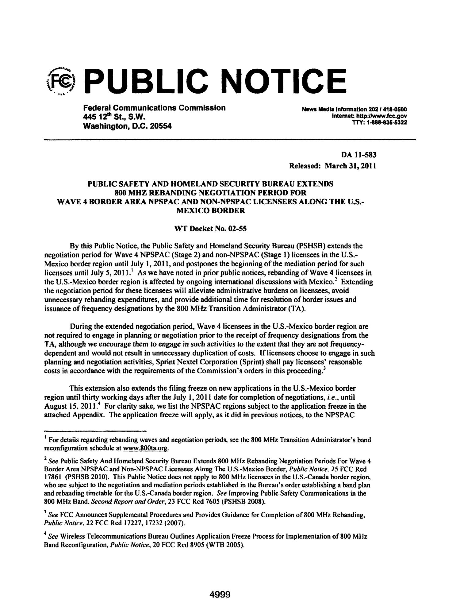 FCC Record, Volume 26, No. 7, Pages 4843 to 5761, March 28 - April 08, 2011                                                                                                      4999