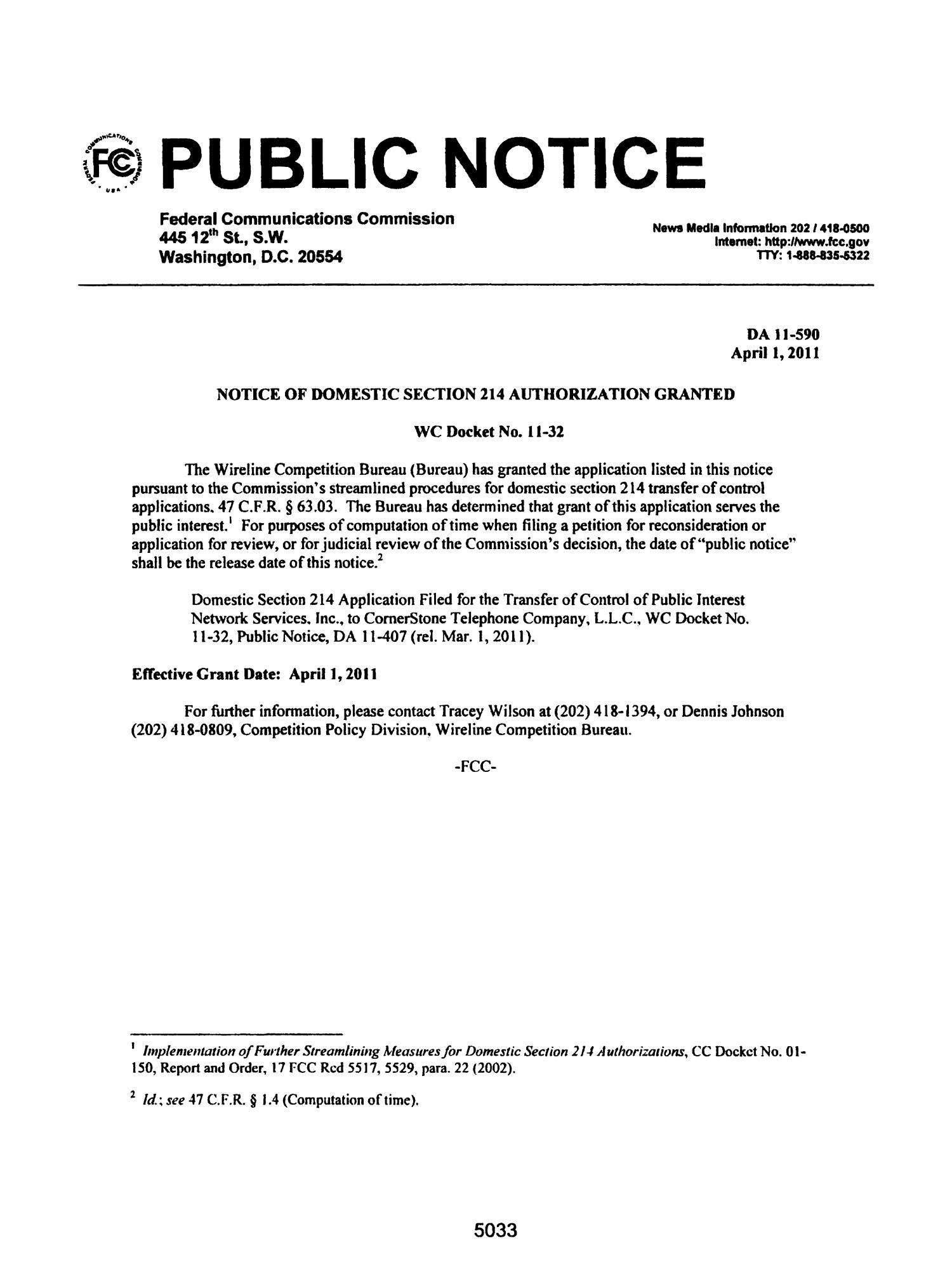 FCC Record, Volume 26, No. 7, Pages 4843 to 5761, March 28 - April 08, 2011                                                                                                      5033